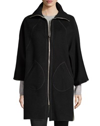 Philosophy Di Alberta Ferretti Zip Front Long Overcoat Black