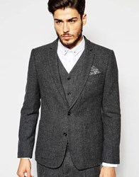 Asos Slim Blazer In 100 Wool In Charcoal Grey