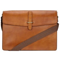 John Lewis Made In Italy Leather Messenger Bag Tan