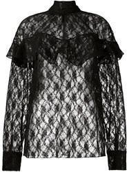 Awake Sheer Lace Blouse Black