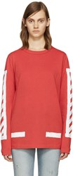 Off White Red Brushed Diagonals T Shirt