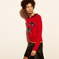Coach Bird Intarsia Sweater Scarlet
