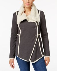 Styleandco. Style Co. Sherpa Trim Jacket Only At Macy's Charcoal Heather Grey