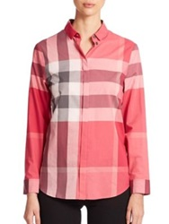 Burberry Large Check Blouse Pink Taupe Brown Teal