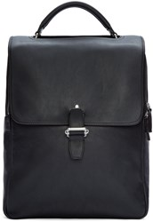Maison Martin Margiela Black Leather Buckle Backpack