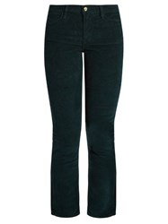 Frame Le High Straight Leg Corduroy Trousers Dark Green