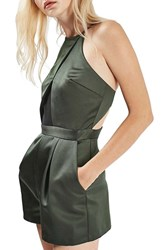 Topshop Women's Satin And Mesh Romper Olive