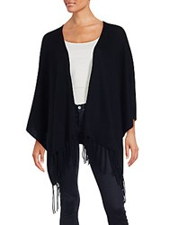 Saks Fifth Avenue Wool And Cashmere Fringed Poncho Black