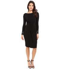 Vince Camuto Beaded Long Sleeve Dress With Front Shirring Black Women's Dress