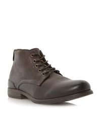 Bertie Curfew Lace Up Short Boots Brown