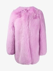 Gucci Fox Fur Coat Pink Red Multi Coloured