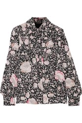 Jill Stuart Cecilie Printed Washed Silk Shirt Black