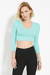 Forever 21 V Neck Crop Top Mint