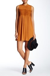 Living Doll Solid Woven Crochet Front Dress Brown
