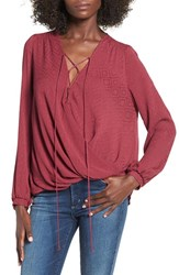 Lush Women's Lace Up Surplice Blouse Burgundy