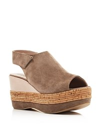 Furla Sofia Mixed Media Open Toe Wedges Beige Khaki