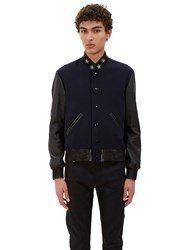Saint Laurent Star Collared Teddy Bomber Jacket Navy