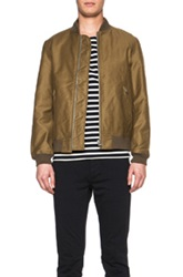 Nlst Cotton Bomber Jacket In Brown Green