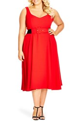Plus Size Women's City Chic Belted Sweetheart Neckline Tea Length Dress Red