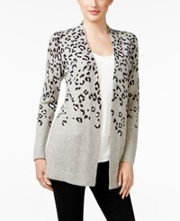 Charter Club Petite Cashmere Animal Print Cardigan Only At Macy's Hthr Cryst