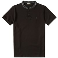 Saint Laurent Leather Collar Polo Shirt Black