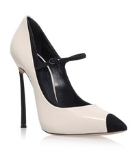 Casadei Blade Patent Mary Jane Shoes Female Beige