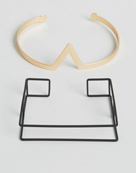 Asos Geometric Bangle In Black And Gold Gold