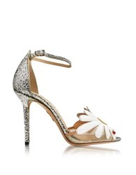 Charlotte Olympia Margherite Platinum White And Sunshine Yellow Glitter And Leather Sandal Multicolor