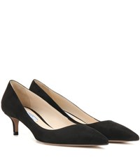 Prada Suede Kitten Heel Pumps Black