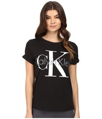 Calvin Klein Underwear Retro Short Sleeve Crew Neck Top Black Women's Pajama