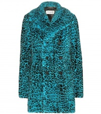 Saint Laurent Leopard Print Mink Fur Coat Blue