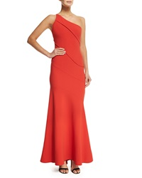 Narciso Rodriguez Asymmetric One Shoulder Crepe Gown Red