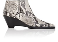 Acne Studios Women's Cammie Snakeskin Stamped Leather Ankle Boots White Black Nude White Black Nude