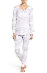 Nordstrom Women's Lingerie Sleepyhead Henley Pajamas Grey Micro Holiday Fairisle