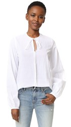 Matin Lucca Full Sleeve Tie Top White Crinkle