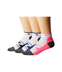 Zensah Peek Running Sock 3 Pack White Black White Neon Pink White Navy No Show Socks Shoes Multi