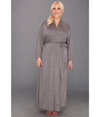 Natori Plus Size Shangri La Robe Heather Grey Women's Robe Gray