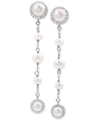 Arabella Cultured Freshwater Pearl 4 8Mm And Swarovski Zirconia Linear Drop Earrings In Sterling Silver White