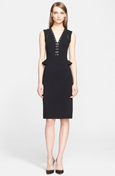 Altuzarra Lace Up Detail V Neck Peplum Dress Black