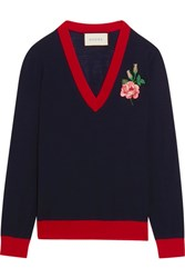 Gucci Embroidered Merino Wool Sweater Navy