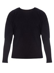 Homme Plisse Long Sleeved Pleated Top Navy