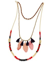 Thalia Sodi Gold Tone Beaded Feather Multi Strand Necklace Only At Macy's