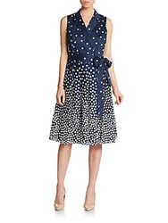 Anne Klein Polka Dot Print Fit And Flare Dress Cadet Combo
