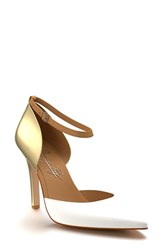 Women's Shoes Of Prey Ankle Strap D'orsay Pump White Gold