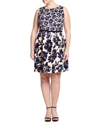 Taylor Plus Sleeveless Floral Print Scuba Party Dress Pink Navy