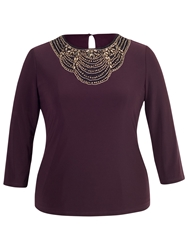 Chesca Embellished 3 4 Sleeves Top Aubergine