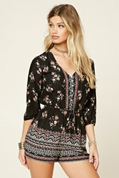 Forever 21 Floral Button Down Romper Black Rust