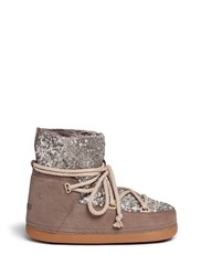 Inuikii Sequin Sheepskin Shearling Moon Boots Brown