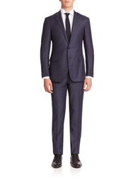 Ralph Lauren Purple Label Solid Two Button Wool Suit Navy