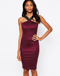Ax Paris Suedette Midi Dress With Strap Detail Plum Purple